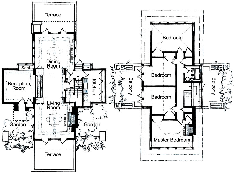 HornerFP AB floor plan of the thomas house frank lloyd wright oak park,Small Frank Lloyd Wright House Plans