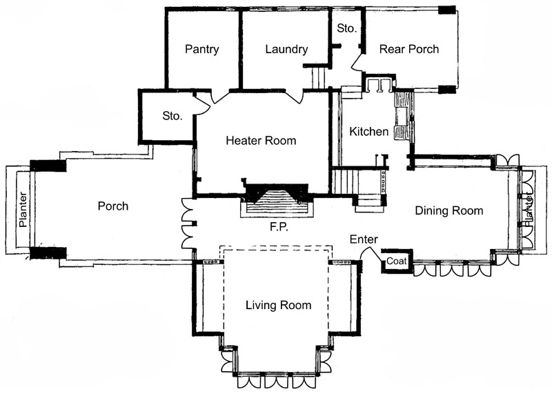 Frank lloyd wright for Meyer may house floor plan