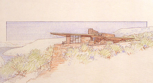 Original Drawing Of The Teater Studio Residence Viewed From Southwest Courtesy Frank Lloyd Wright Foundation